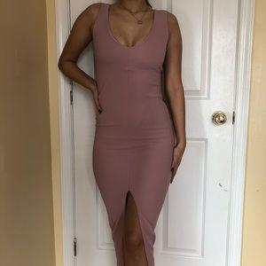 Pink plunge body-con dress